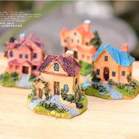 Wholesale artificial mini villas Ornaments fairy garden miniatures toys gnome moss terrarium decor resin crafts bonsai home decor for DIY Zakka