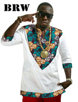 Wholesale Traditional Africa Wax T shirt Three Quarter Sleeve Print Dashiki Men Fashion Tops