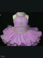 Wholesale Custom Made Best Flower Girl Dresses Crepe Beaded Mini Halter Ball Gown Pageant Dresses