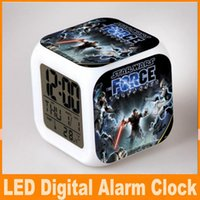 Wholesale Star Wars disigns LED Digital Alarm Clock Colors Change Darth Vader clock with nightlight Thermometer Calendars DHL FREE OM CB4