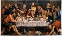 art last supper - The Last Supper by Jacopo Bassano Handmade Large Oil Painting on Canvas Wall Art H