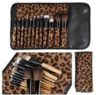 Wholesale 2015 Makeup kits Brush Cosmetic Facial Make Up Set tools With Leopard Bag makeup brush tools High Quality