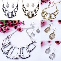Wholesale Hollow Charms Alloy Plated Statement Choker Necklace Earrings Jewelry Set Woman Party Christmas Presents TL9506