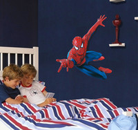 Wholesale DHL CM Spiderman Superhero removeable Wall Stickers Decorative Wall Decal Cartoon Wallpaper Kids wall stickers gift Wall Art