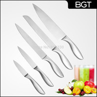 Wholesale 2015 Newest Stainless Steel Kitchen Knife Set Chef Knives Set Include Paring Slicer Bread Knife Sets With Hollow Handle