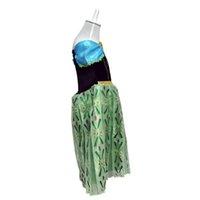 Cheap 100pcs In stock green costume dress for kids frozen girls dress costume fantasy princess dress elsa anna costume dress kids