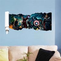 O Vingadores parede 3D adesivo decoração Arte Mural ferro homem Hulk para o quarto dos meninos