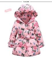 big love children - Children Down Coat For Winter New Arrival Big Girls Coat Kids Clothing Love Bow Waist Printed Children Down Jacket CD124