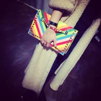 Wholesale 2016 Striped bump color rainbow rivet hand bag hand caught the chain envelope bag Good quality