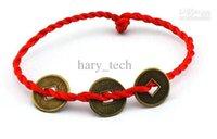 Wholesale 3 copper cash red line bracelet woven bracelet benmingnian red line bracelet auspicious bracelet
