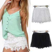 Wholesale 2015 hot European Fashion Spring Summer Women Shorts Elastic High Waist Lace Shorts Casual Short Pants
