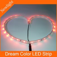 Wholesale SMD5050 Dream Color LED Strip Light controlled by built in IC LEDs m W m V DC IP67 waterproof flexible LED Stripe Light