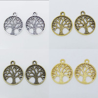 Wholesale Tibetan Silver Tree of Life Charms Round Pendants Beads Jewerly Findings mm Pick Color