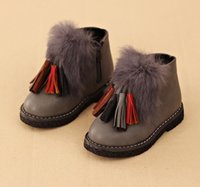 ball fringe - Children Short Boots Winter Hot Fashion Girls Matin Boots With Tassels Fur Ball Kids Leisure Shoes pair Fit4 Age T1651
