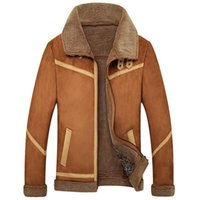 Wholesale New Men Suede Leather Jackets Winter Fur Coats Vintage Camel Coffee Man Wool Outerwear Warm Fleece Lining