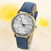 auto glass news - Attractive Colors Unisex Casual Quartz Analog Sports Denim Fabric News Paper Wrist Watch AG11