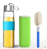 Wholesale Portable glass water cup creative cup with lid ml transparent heat leak took office men and women