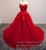 Wholesale Korean Wedding Dress Image - Real Image Red Wedding Dresses Long Trains Ball Gown Tulle Appliques Sweetheart 2016 Corset Back Korean Bride Dress W4447