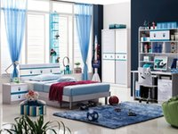 Wholesale Blue Children Dream House Furniture Bedroom Furniture wood furniture Bed desk wardrobe cabinet girl boy bedroom MYL8833