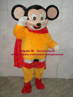 mighty mouse - Brand New Black Mice Mighty Mouse Mascot Costume Mouselet Rat Strong Man Muroidea Wearing Yellow Clothes Adult No Free Ship