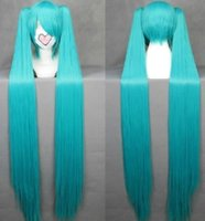 Wholesale 120cm Long Cosplay wig Vocaloid hatsune miku Green Anime Cosplay wig Hair Blue Black Pink