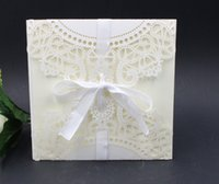 Wholesale Laser Lace Flora Wedding Invitations Cards New Arrival Wedding Invitation Favors Free Personalized Printable Cards Ribbon with Envelope