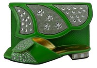 african shoe - B green color African shoe with matching bag for evening party for low heel sandal with handbag to match party dress