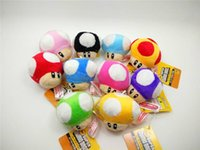 Wholesale Super Mario Bros Mushroom Plush Keychain Cute Inches Different Colors Super Mario Brothers Anime Stuffed Toy Doll Key Chain Keyring Gift