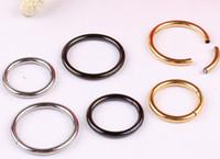 al por mayor pezón anillos de titanio-Anillo anillado anodizado Titanium Anillo Capaz del grano CBR Pezón Labret Anillo de la nariz del labio Piercing Cuerpo Joyería 60PCS / LOT