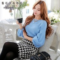 Wholesale Dabuwawa Women s Sweet Slash Neck Vintage Long Lantern Sleeve Sky Blue Pullover Sweater