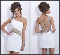 Cheap Model Pictures prom dresses mermaid Best Sheath/Column One-Shoulder prom dresses short