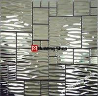 Wholesale Silver metal mosaic stainless steel kitchen wall tile backsplash SMMT013 D waved mosaic tiles metallic mosaic tiles