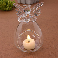 Wholesale Home holiday Christmas decorations for creative transparent crystal glass angel candle holder wedding candlelight dinner gift