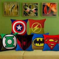 Wholesale 9 colors Carton Avengers cushion case superman iron mam Captain America Green Lanter linen cotton Pillow Cover pillowcover BY DHL