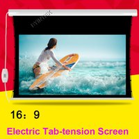 Wholesale Luxury Motorized Electric Tab Tension inch Matte White Home Theater High Quality Cinema Projector Screen