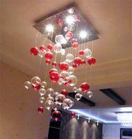 glass dining room - Indoor Pendent Light Red Bubble Pendent Light Glass Chandelier Sitting Room Light Dining room Lamp Study Bedroom Lamp Light Dome Lighting