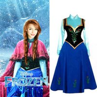 Wholesale Hallow Frozen Princess Anna Cosplay Dress Snow Cosplay Costume Adult Lady Women