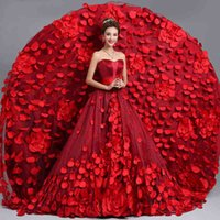 Wholesale 2015 New classic red flowers strapless long train spring autumn a line wedding dresses evening gown