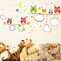 bathroom puzzles - Owl white wallpaper Cartoon kids room classroom layout puzzle removable wall stickers mural home decor