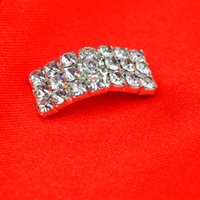 Wholesale 500pcs Three Rows Rhinestone Crystal Buttons mm Rectangle Buckle Ladies DIY Hairwear Ornaments wa219