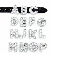 Wholesale 8MM Full Rhinestone Slide Letters quot A J Can Choose Each Letter quot For DIY Wristband Bracelet