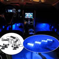 Wholesale 25 sets pieces Car LED Interior Decoration Under Dash Floor LED Light Strip Lamp Blue Hot