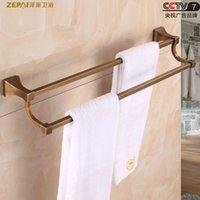 Wholesale Towel racks full of copper square section height double rod bathroom hardware pendant Continental antique color towel bar towel rack