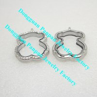 Lockets bearing support - Panpan support for blending bear shape L stainless steel magnetic floating locket crystals
