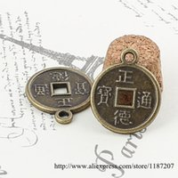 ancient coin pendant - DIY Jewelry Accessories Antique Bronze Tone Vintage Alloy Chinese Ancient Coins Round Pendant Charms mm