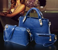 designer purses - 3 Sets Women Totes Bags New Arrival Fashion Classic Alligator PU Leather Designer Handbags Lady s Shoulder Bags And Purse