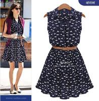 Wholesale Cheap Animal Collars - 2015 Summer Women Casual Dresses Turndown Collar Sleeveless Printed Dark Navy Plus Size Dresses with Belt Cheap Party Dress Size XL-5XL