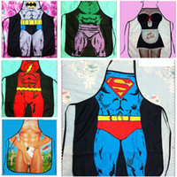Wholesale 65 styles giant apron superman Hero Anime Cartoon Character Series Kitchen Apron Funny Personality Cooking Apron Gift R741