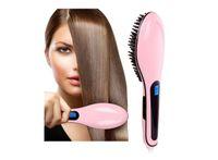 Wholesale Pink Brush Hair Straightener W Digital Anti Scald Anti Static Ceramic Heating Detangling Hair Brush For Instant Magic Silky Straight Styli