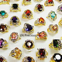 Wholesale 60pcs Hot Sale jewelry nice K Gold Plated Rhinestone Cubic Zirconia Gold rings RL078